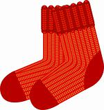 Red knit wool socks