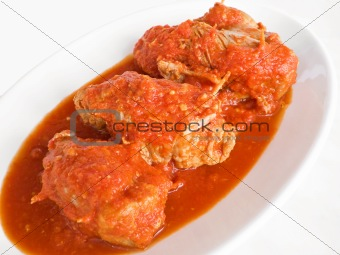Meat roulade with tomato sauce on plate.