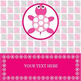 Baby card with pink turtle