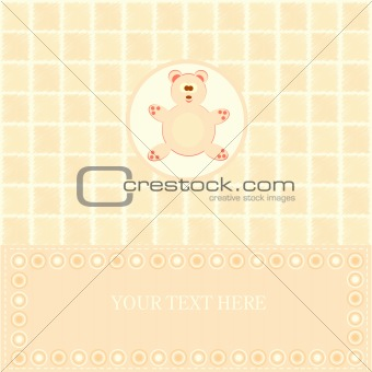 baby greetings card with yellowe bear
