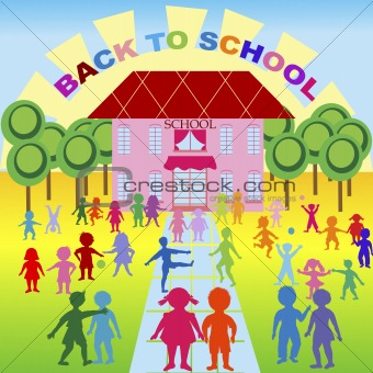Back to school, background with children and school