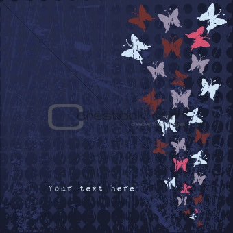 Background with colored butterflies and text