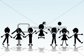 Black smiling children silhouettes