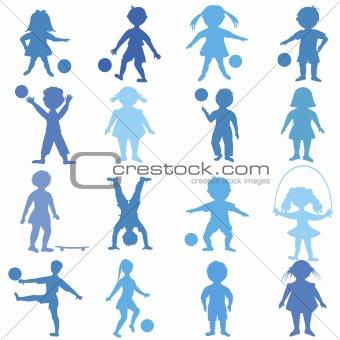 blue children playing