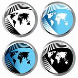 Buttons with world maps