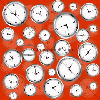 Clocks over red background