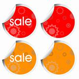 decorated stickers in orange and red