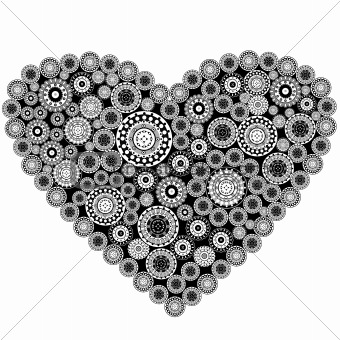 Grey heart with grey elements