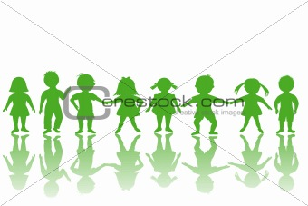 Group of green children