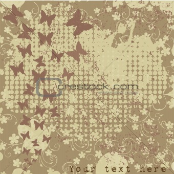 grunge background with foliage and butterfly