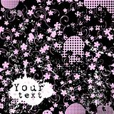 grunge background with pink flowers and place for your text