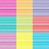 Nine background with geometrical ornaments in bright tones