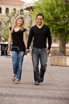 European Couple Walk