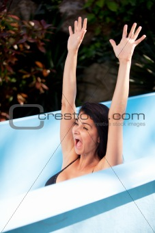 Woman on Waterslide