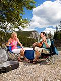 Camping Couple with Guitar