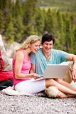 Laptop Outdoor Couple Camping
