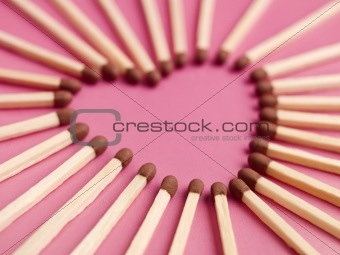 Matches formed as a heart