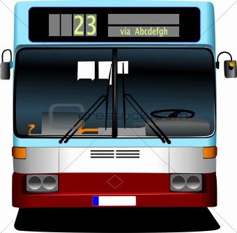 Blue City bus. Coach. Vector illustration for designers
