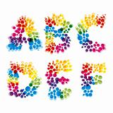 vector set of alphabet elements made of bubbles.
