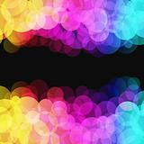 Vector illustration of blurred disco dots on dark background 