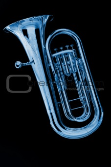 Blue Tuba Euphonium on Black