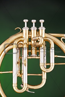 Antique French Horn on Green