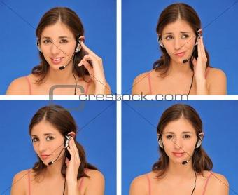 beautiful woman and headset