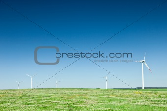 group of wind turbines on green field