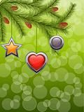 Christmas background with a fir twig