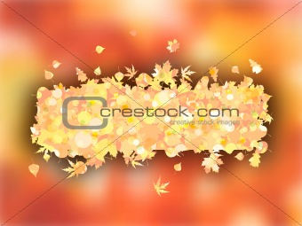 Autumnal frame with maple leaves.