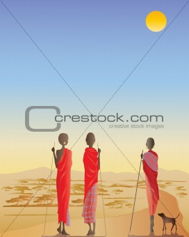 Masai men on a dirt track