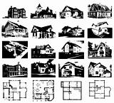 Set of projects of houses and plans. Vector