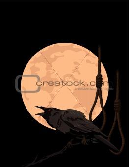 Crow croaks against a full moon