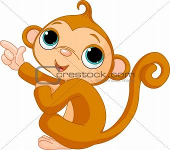 Pointing baby monkey