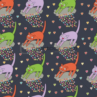 Cartoon seamless pattern with cat