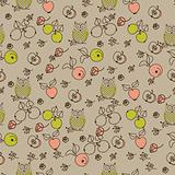Seamless floral pattern with cartoon birds