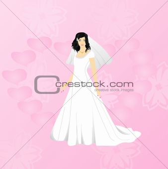 Beauty bride on pink background