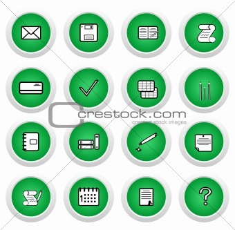 Green sticker with icon 16