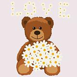 funny bear with flower