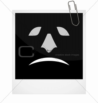 Realistic illustration photoframe with malicious smile