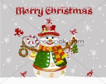 Christmas card with snowman and birds. Vector