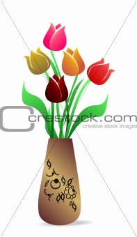 Beautiful vase with tulips