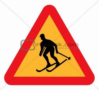 Skiing warning sign