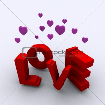3d illustration of 'love'