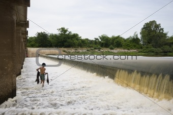 fisherman with dam