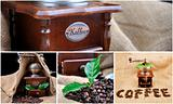 collage vintage coffee grinder, sign coffe from coffee granules and coffee plant