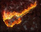Flaming melting guitar