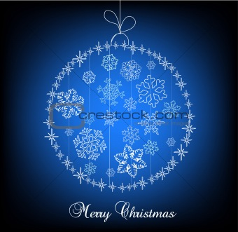 Christmas ball made of snowflakes with stars