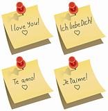 paper note with push pin and I love you words