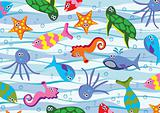 colorful sea animals